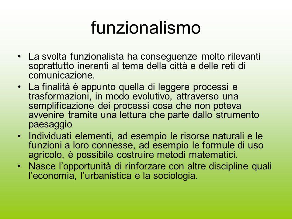 funzionalismo La svolta funzionalista ha conseguenze molto rilevanti soprattutto inerenti al tema della città e delle reti di comunicazione.