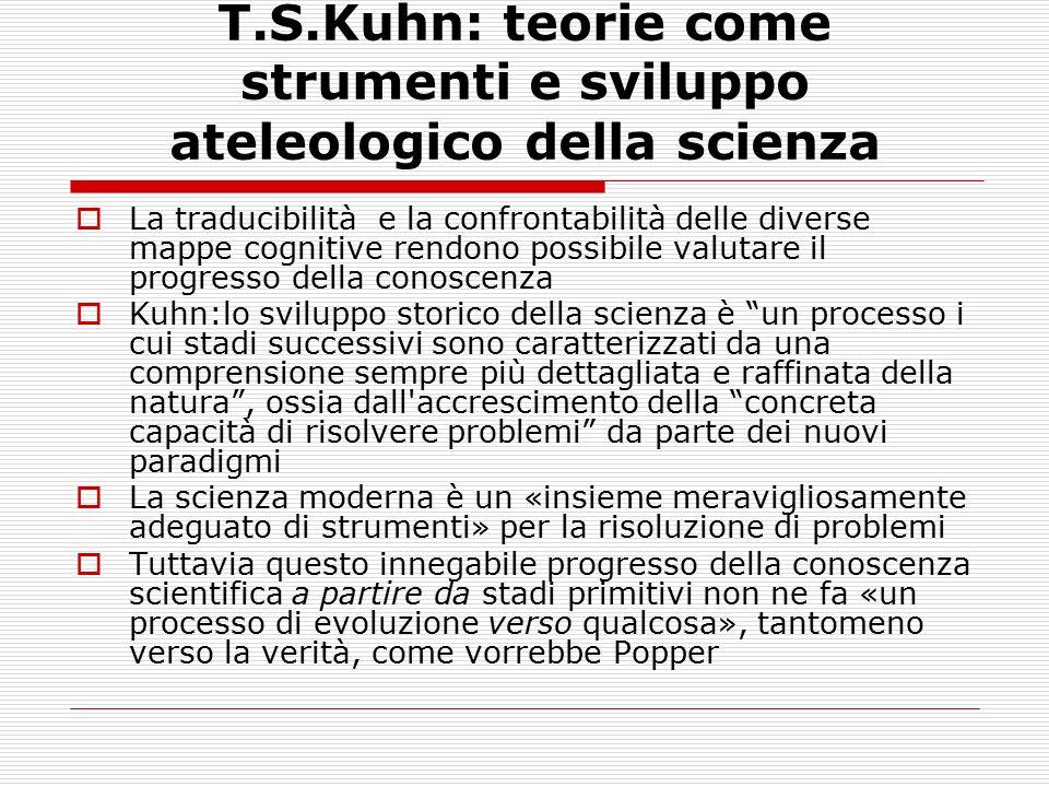 T.S.Kuhn: teorie come strumenti e sviluppo ateleologico della scienza