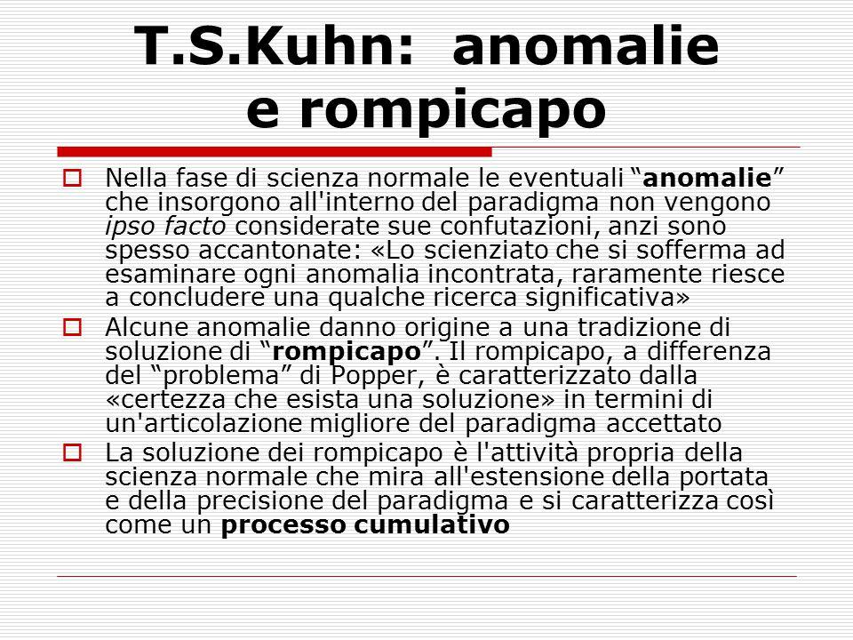T.S.Kuhn: anomalie e rompicapo