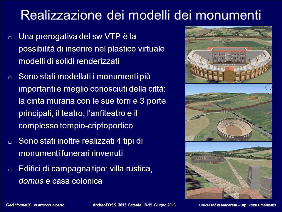 Realizzazione dei modelli dei monumenti