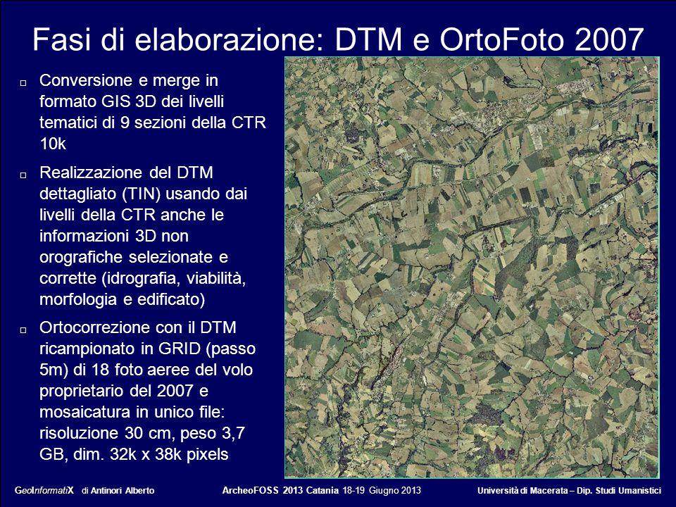 Fasi di elaborazione: DTM e OrtoFoto 2007
