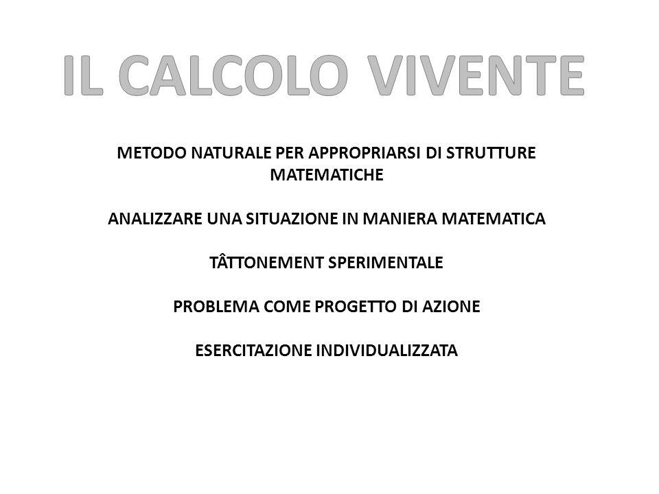 IL CALCOLO VIVENTE METODO NATURALE PER APPROPRIARSI DI STRUTTURE MATEMATICHE. ANALIZZARE UNA SITUAZIONE IN MANIERA MATEMATICA.