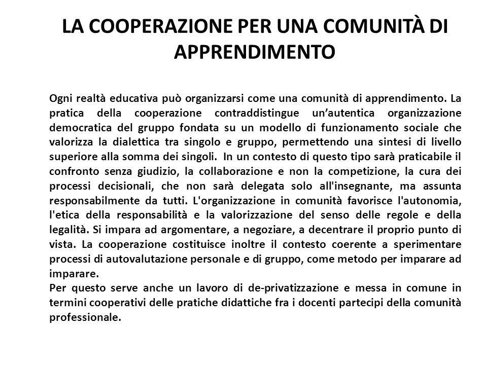 LA COOPERAZIONE PER UNA COMUNITÀ DI APPRENDIMENTO