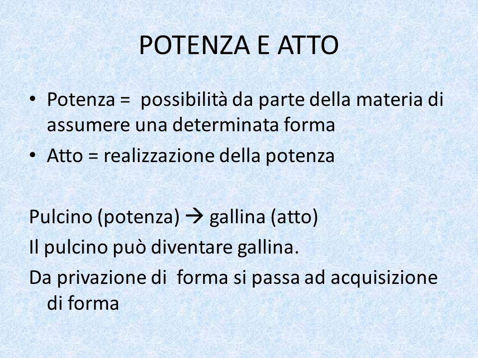 POTENZA E ATTO Potenza = possibilità da parte della materia di assumere una determinata forma. Atto = realizzazione della potenza.