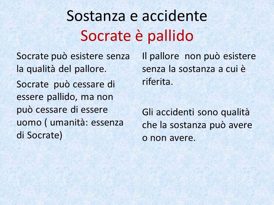 Sostanza e accidente Socrate è pallido