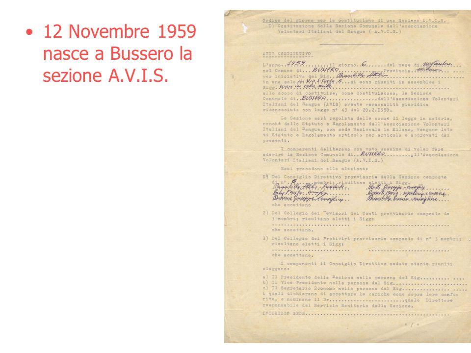 12 Novembre 1959 nasce a Bussero la sezione A.V.I.S.