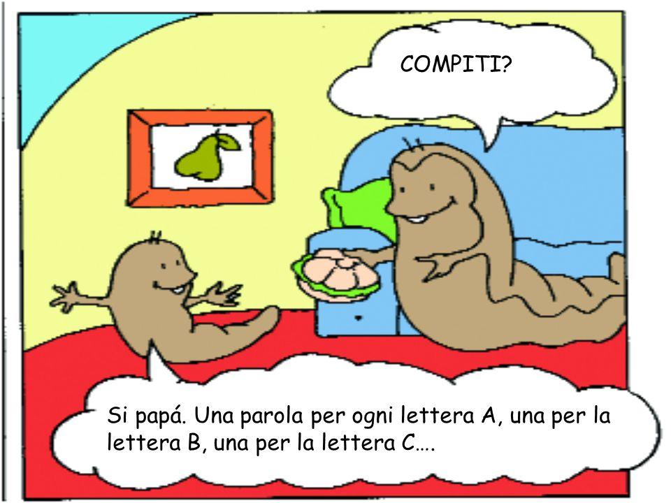 COMPITI Si papá. Una parola per ogni lettera A, una per la lettera B, una per la lettera C….