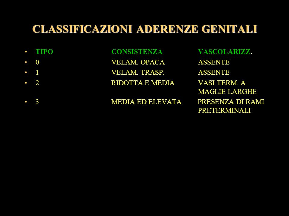 CLASSIFICAZIONI ADERENZE GENITALI
