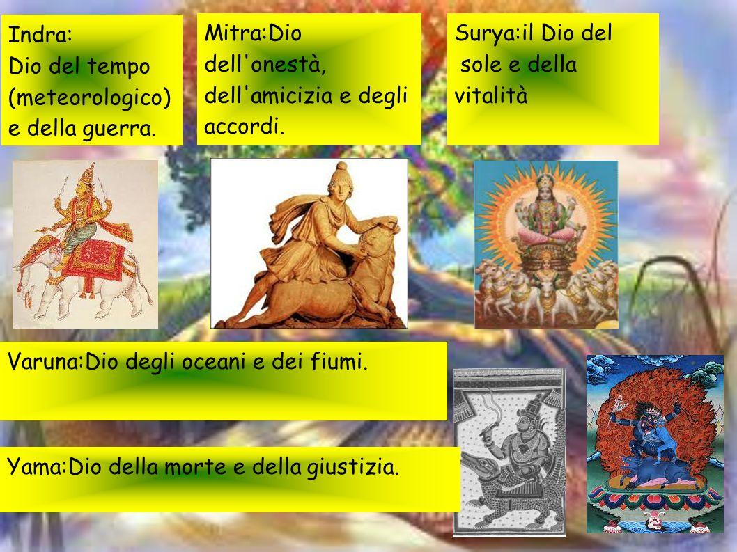 Indra: Dio del tempo. (meteorologico) e della guerra. Mitra:Dio dell onestà, dell amicizia e degli accordi.