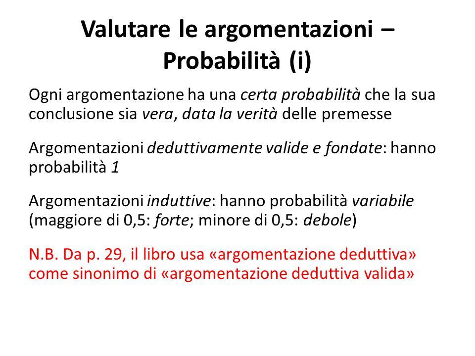 Valutare le argomentazioni – Probabilità (i)