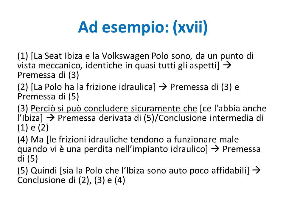 Ad esempio: (xvii)