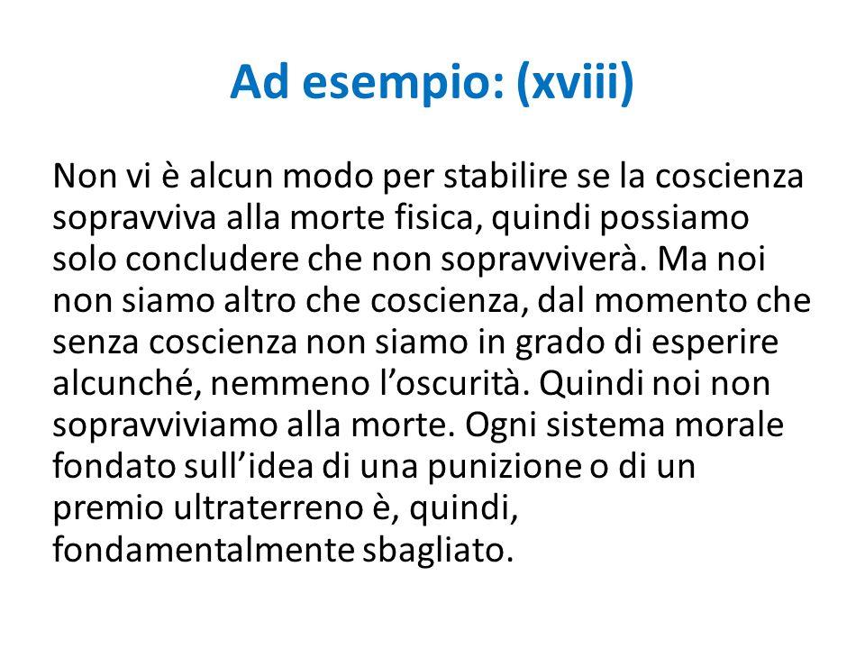 Ad esempio: (xviii)