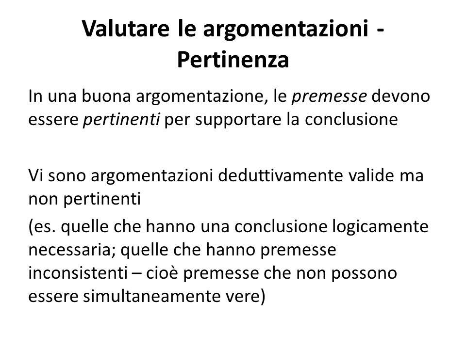 Valutare le argomentazioni - Pertinenza