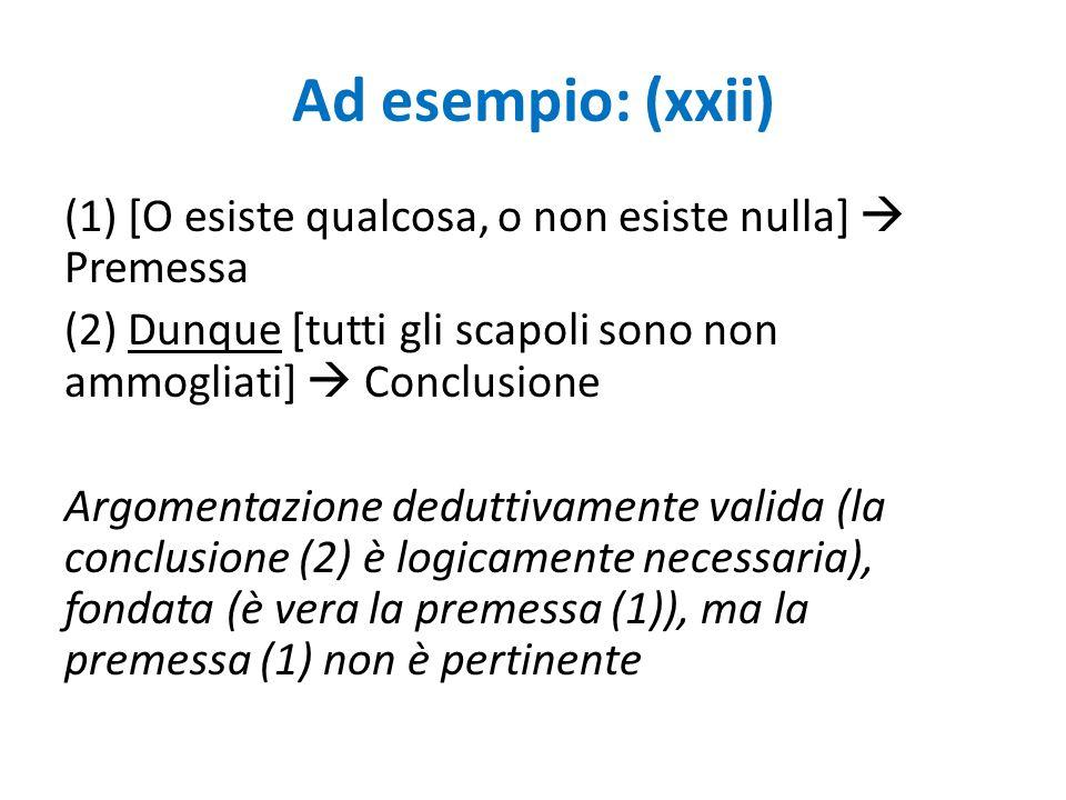 Ad esempio: (xxii)