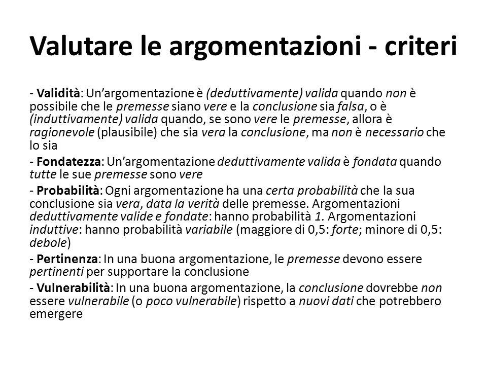 Valutare le argomentazioni - criteri