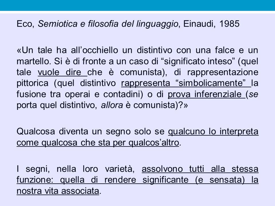 Eco, Semiotica e filosofia del linguaggio, Einaudi, 1985 «Un tale ha all'occhiello un distintivo con una falce e un martello.