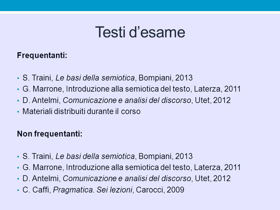 Testi d'esame Frequentanti: