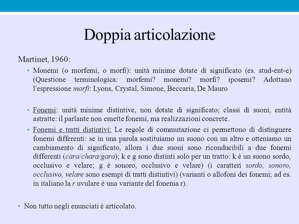 Doppia articolazione Martinet, 1960: