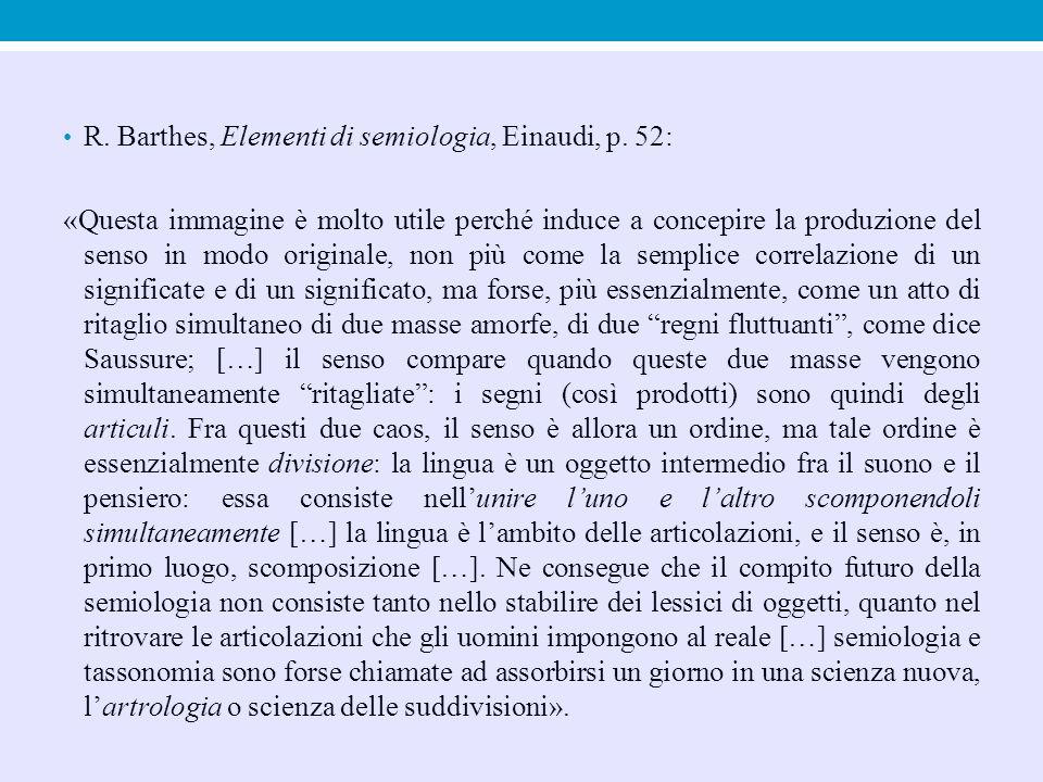 R. Barthes, Elementi di semiologia, Einaudi, p. 52: