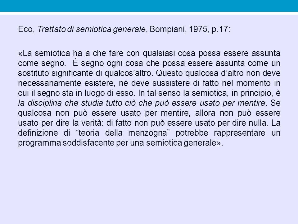 Eco, Trattato di semiotica generale, Bompiani, 1975, p