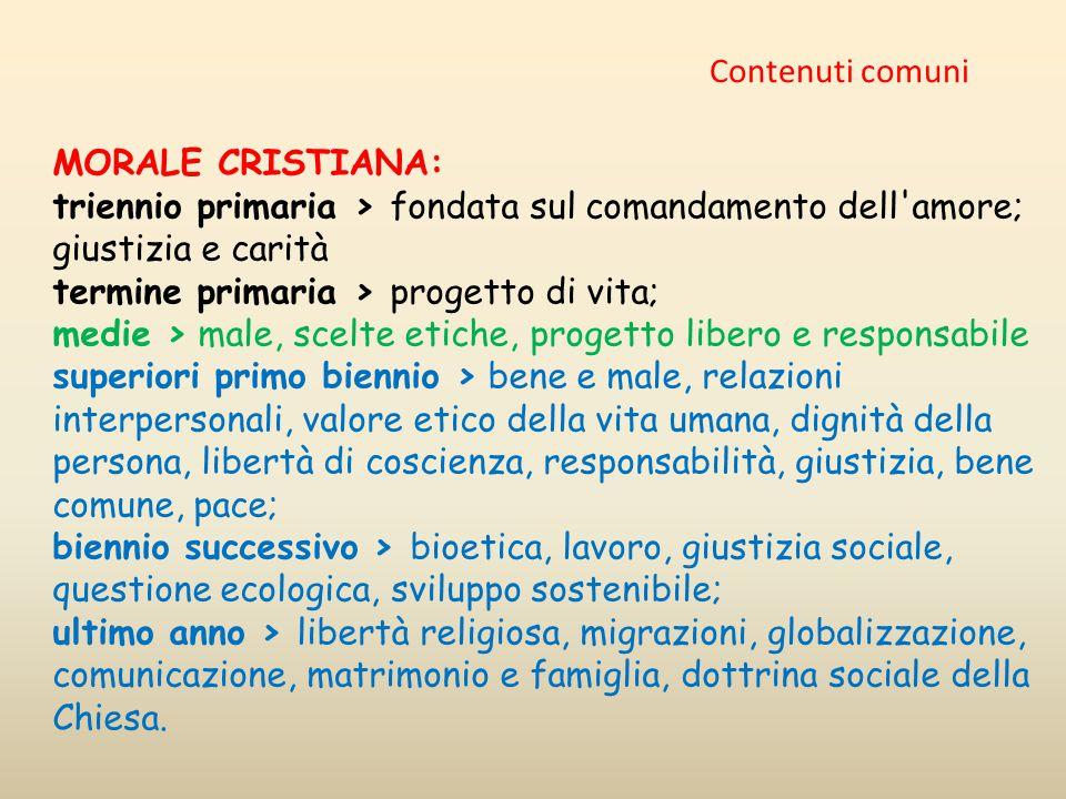 Contenuti comuni MORALE CRISTIANA: triennio primaria > fondata sul comandamento dell amore; giustizia e carità.