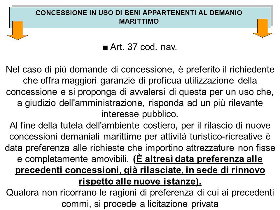 CONCESSIONE IN USO DI BENI APPARTENENTI AL DEMANIO MARITTIMO