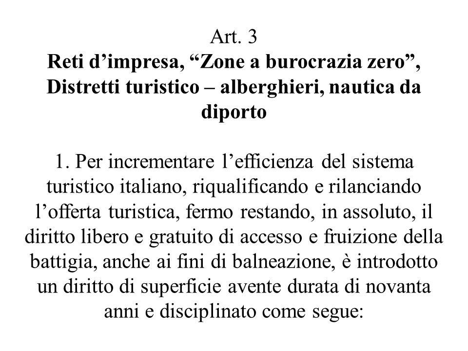 Art. 3 Reti d'impresa, Zone a burocrazia zero , Distretti turistico – alberghieri, nautica da diporto.