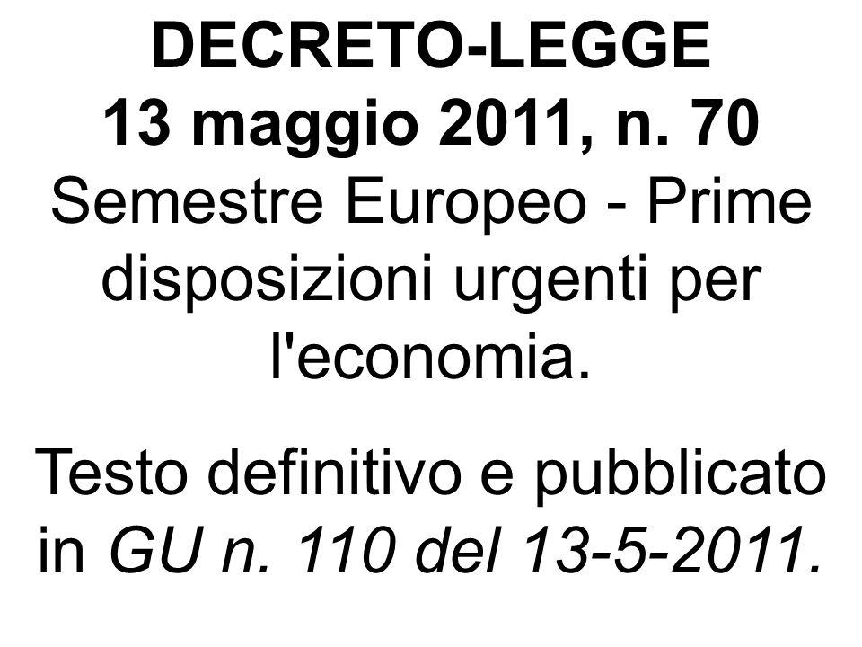 Testo definitivo e pubblicato in GU n. 110 del 13-5-2011.
