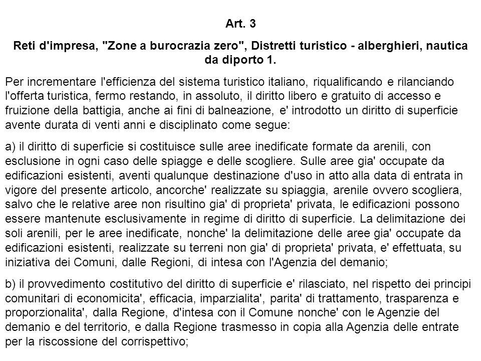Art. 3 Reti d impresa, Zone a burocrazia zero , Distretti turistico - alberghieri, nautica da diporto 1.