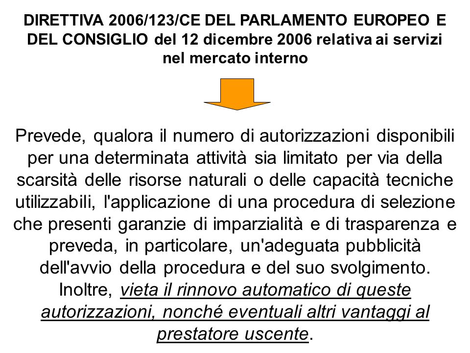 DIRETTIVA 2006/123/CE DEL PARLAMENTO EUROPEO E DEL CONSIGLIO del 12 dicembre 2006 relativa ai servizi nel mercato interno