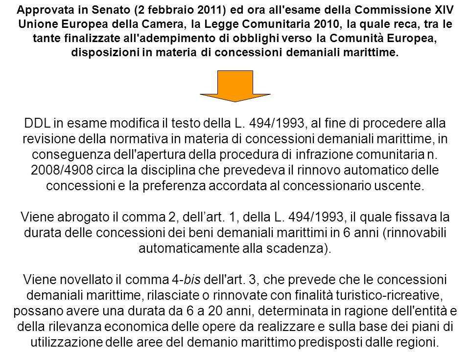 Approvata in Senato (2 febbraio 2011) ed ora all esame della Commissione XIV Unione Europea della Camera, la Legge Comunitaria 2010, la quale reca, tra le tante finalizzate all adempimento di obblighi verso la Comunità Europea, disposizioni in materia di concessioni demaniali marittime.