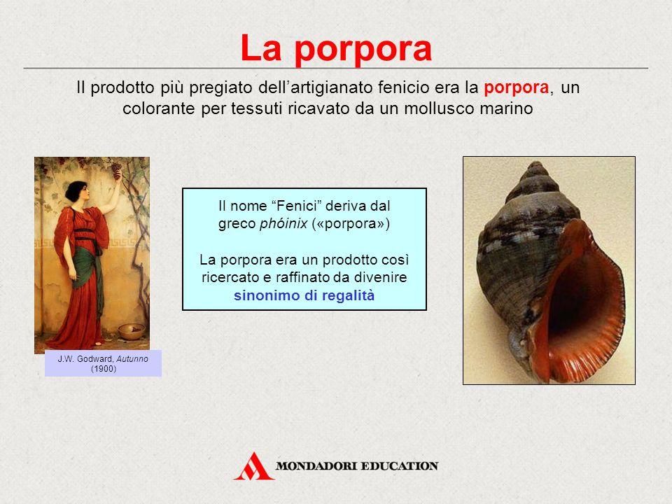La porpora Il prodotto più pregiato dell'artigianato fenicio era la porpora, un colorante per tessuti ricavato da un mollusco marino.