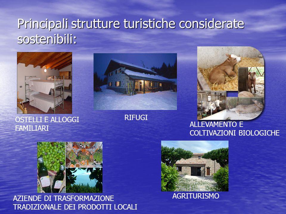 Principali strutture turistiche considerate sostenibili: