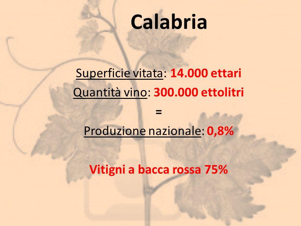 Calabria Superficie vitata: 14.000 ettari