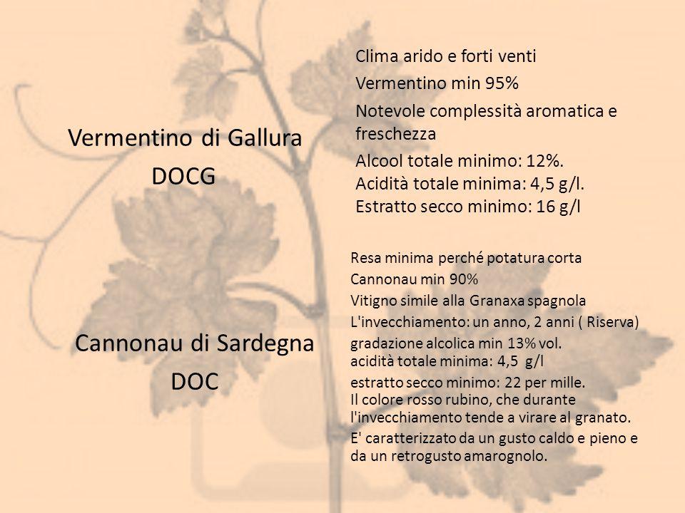 Vermentino di Gallura DOCG Cannonau di Sardegna DOC