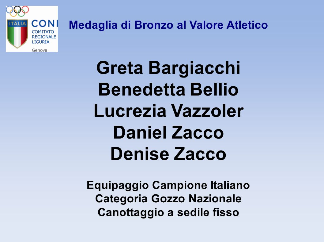 Greta Bargiacchi Benedetta Bellio Lucrezia Vazzoler Daniel Zacco