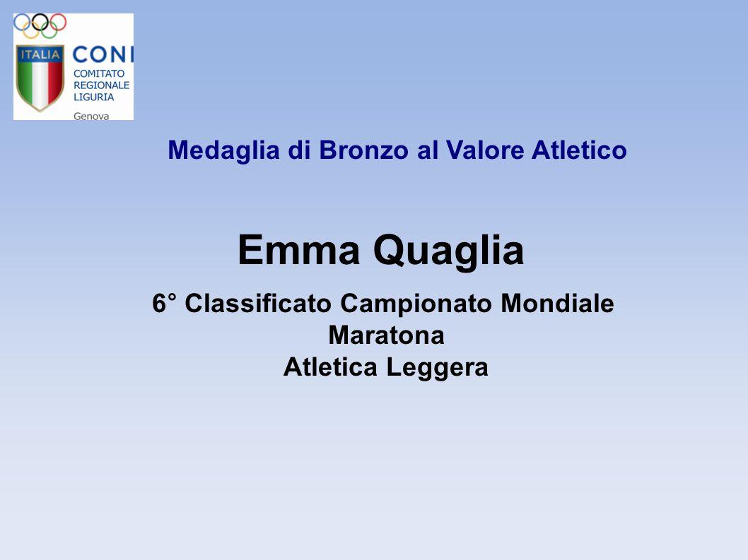 Emma Quaglia Medaglia di Bronzo al Valore Atletico