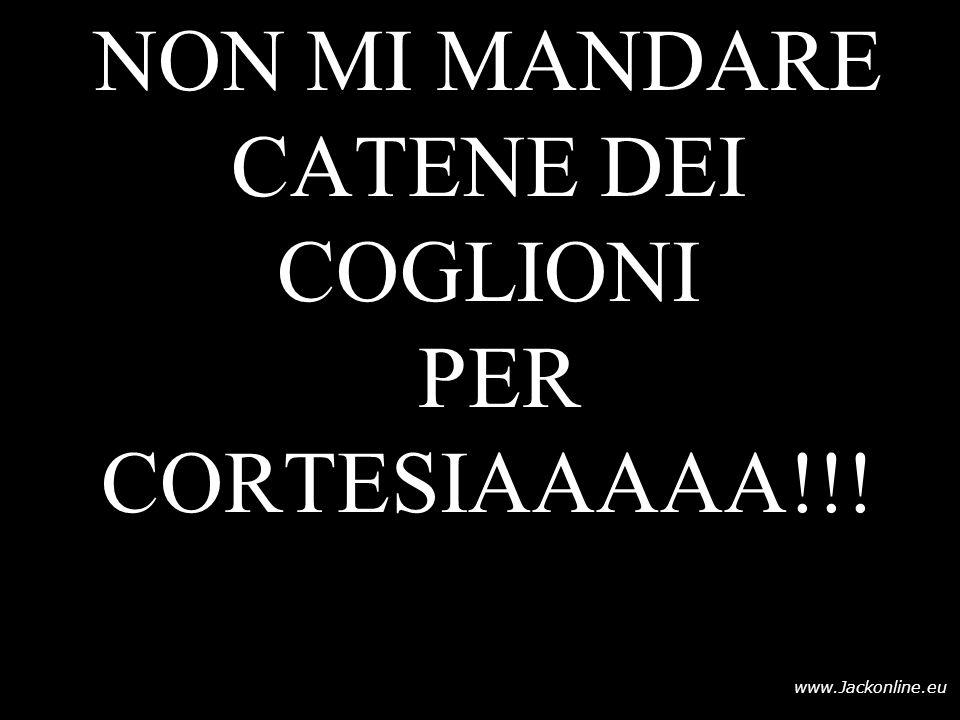 NON MI MANDARE CATENE DEI COGLIONI PER CORTESIAAAAA!!!