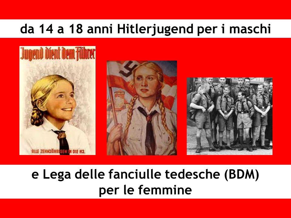 da 14 a 18 anni Hitlerjugend per i maschi