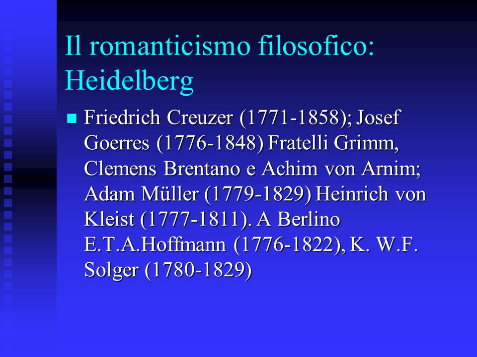 Il romanticismo filosofico: Heidelberg