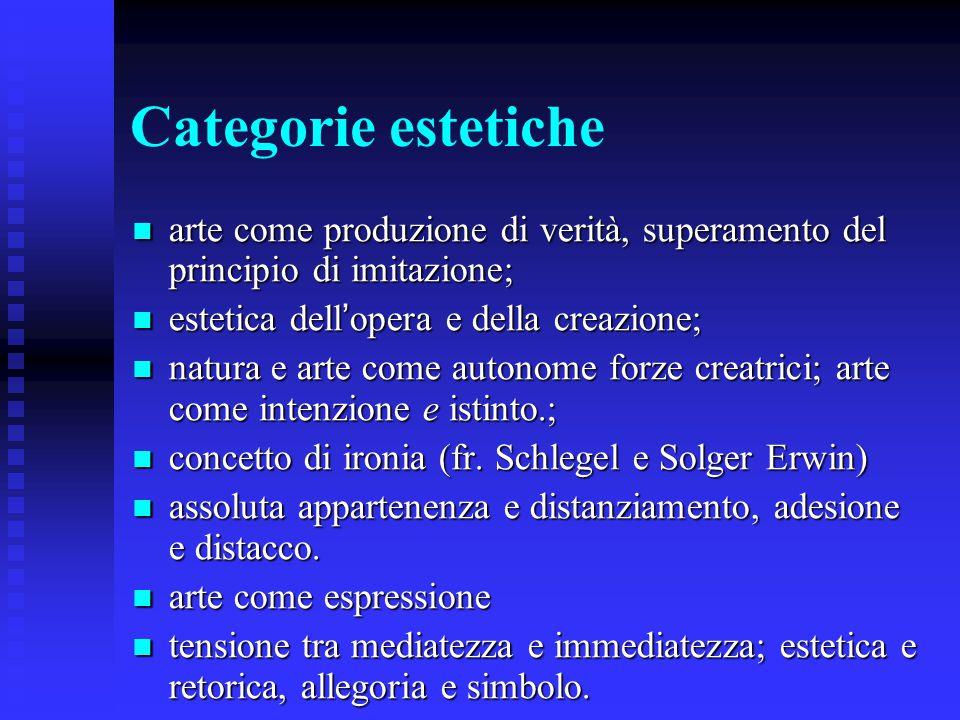 Categorie estetiche arte come produzione di verità, superamento del principio di imitazione; estetica dell'opera e della creazione;