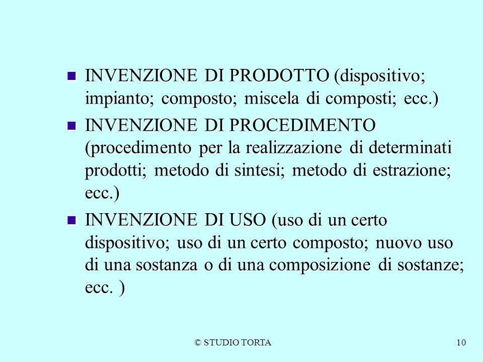 INVENZIONE DI PRODOTTO (dispositivo; impianto; composto; miscela di composti; ecc.)