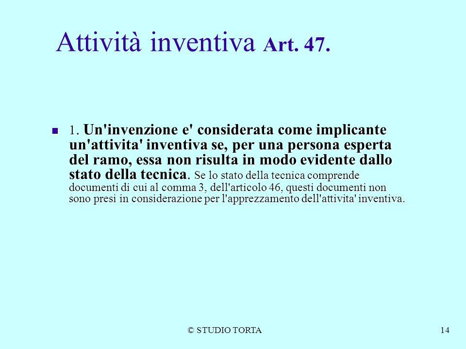 Attività inventiva Art. 47.