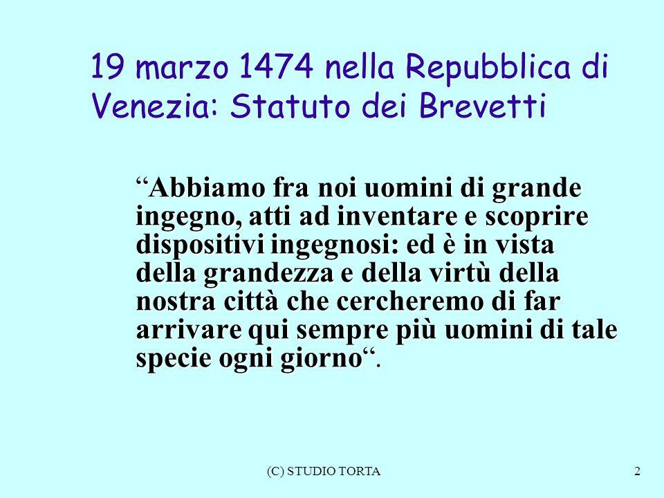 19 marzo 1474 nella Repubblica di Venezia: Statuto dei Brevetti