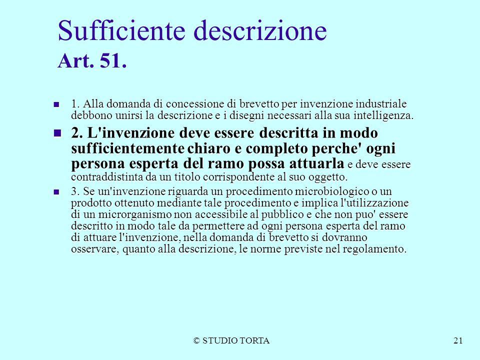 Sufficiente descrizione Art. 51.