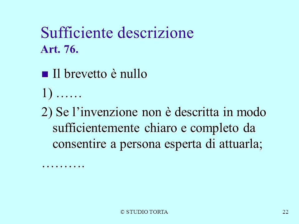 Sufficiente descrizione Art. 76.