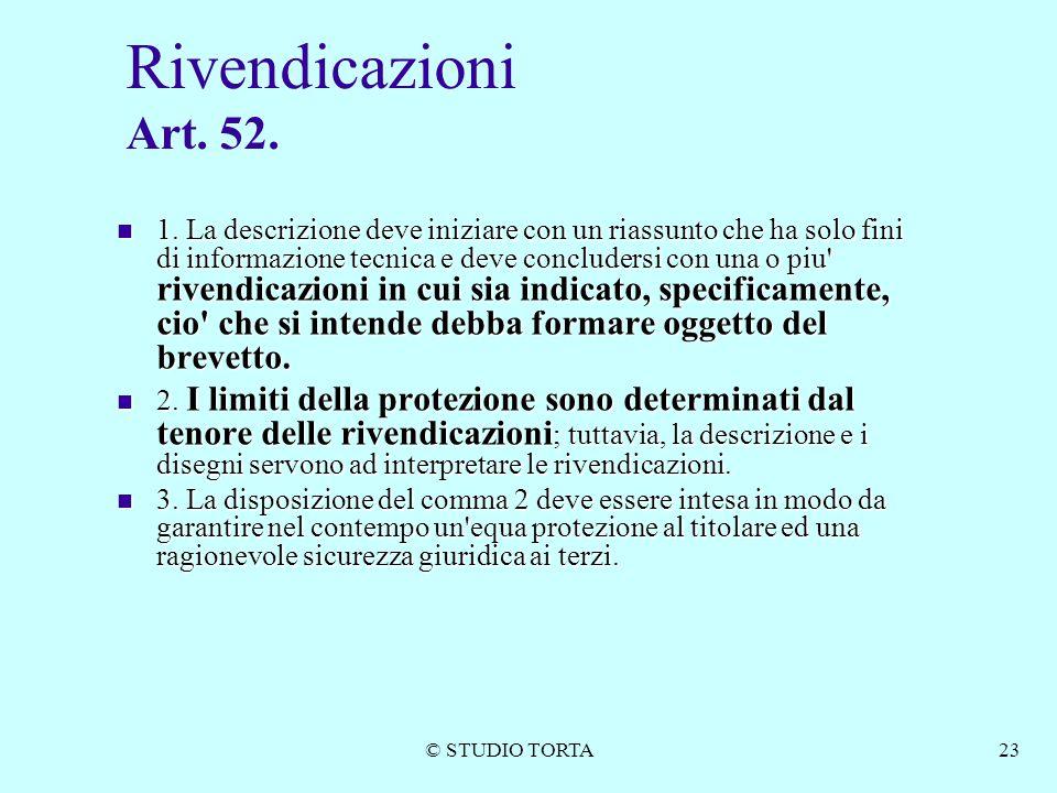 Rivendicazioni Art. 52.