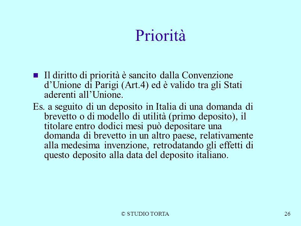 Priorità Il diritto di priorità è sancito dalla Convenzione d'Unione di Parigi (Art.4) ed è valido tra gli Stati aderenti all'Unione.