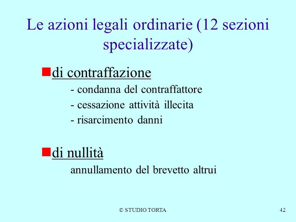 Le azioni legali ordinarie (12 sezioni specializzate)