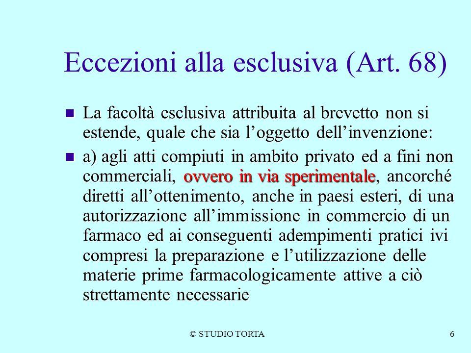 Eccezioni alla esclusiva (Art. 68)